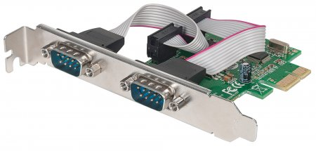 Serial PCI Express Card - , Two DB9 Ports; Fits PCI Express x1, x4, x8 and x16 Lane Buses