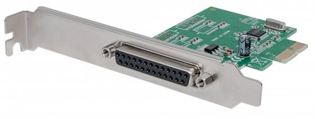 Parallel PCI Express Card - , One DB25 port, IEEE 1284; fits PCI Express x1, x4, x8 and x16 lane buses