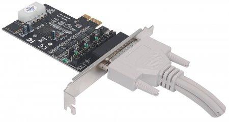Serielle PCI-Express-Karte MANHATTAN Adapter mit vier DB9-Ports, 5V Ausgangsleistung