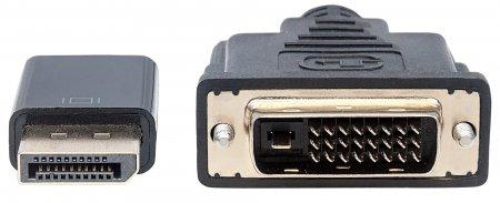 DisplayPort 1.2a auf DVI-Kabel MANHATTAN DisplayPort 1.2a-Stecker auf DVI-D 24+1-Stecker, 3 m, schwarz