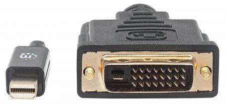 Mini-DisplayPort 1.2a auf DVI-Kabel MANHATTAN Mini-DisplayPort 1.2a-Stecker auf DVI-D 24+1-Stecker, 1,8 m, schwarz