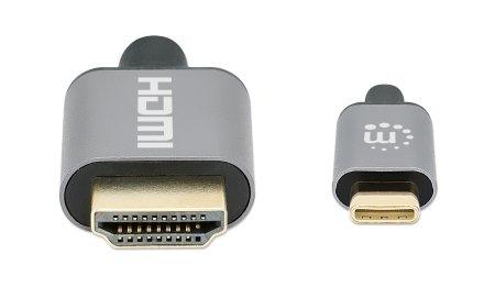 USB Typ C auf HDMI-Adapterkabel MANHATTAN Konvertiert das Alternate-Mode-Signal in ein HDMI 4K-Ausgangssignal, 1 m, schwarz