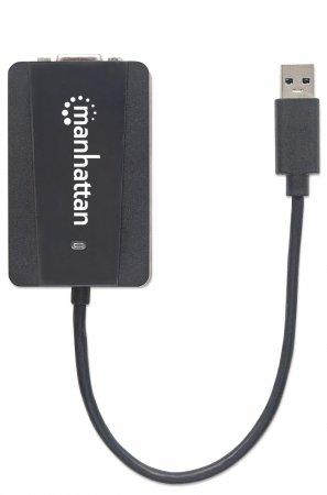 USB 3.0 auf SVGA-Konverter MANHATTAN Konvertiert USB 3.0 Typ A auf einen SVGA-Ausgang, schwarz
