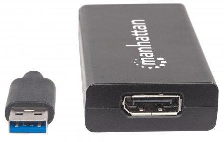 USB 3.0 auf DisplayPort-Konverter MANHATTAN Konvertiert USB 3.0 Typ A auf einen DisplayPort-Ausgang, 4K/UHD, schwarz