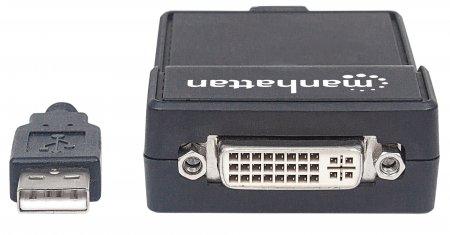 USB 2.0 auf DVI-Konverter MANHATTAN Zum Anschluss eines zusätzlichen DVI-I-Displays auch geeignet für HDMI- und VGA-Displays, passende Adapter im Lieferumfang
