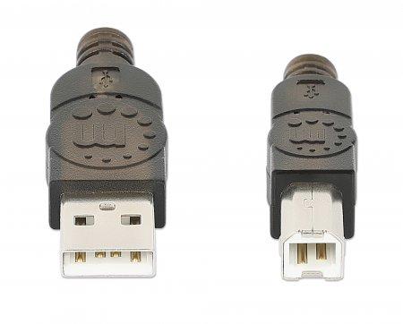 Hi-Speed USB 2.0 aktives Anschlusskabel MANHATTAN USB A-Stecker auf B-Stecker, 15 m, schwarz