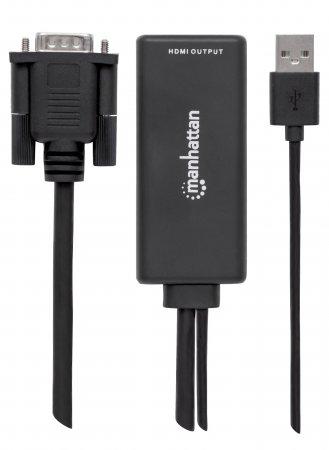 VGA und USB auf HDMI-Konverter MANHATTAN Konvertiert die analogen Signale VGA-Video und USB-Audio in ein digitales HDMI-Signal