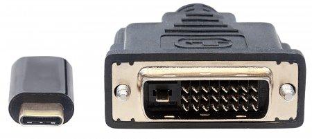USB Typ C auf DVI-Adapterkabel MANHATTAN Konvertiert das DP Alternate-Mode-Signal in ein DVI 1080p-Ausgangssignal, 2 m, schwarz