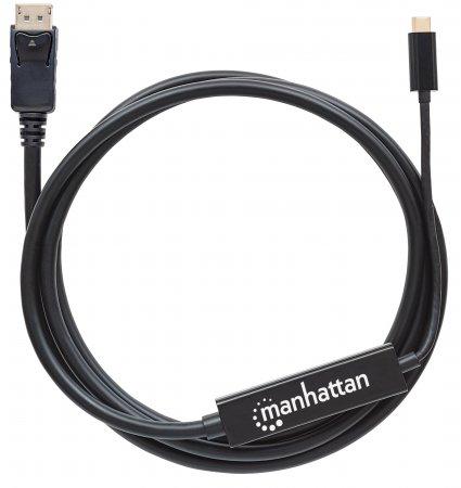 USB Typ C auf DisplayPort-Adapterkabel MANHATTAN Konvertiert das Alternate-Mode-Signal in ein DisplayPort 4K-Ausgangssignal, 2 m, schwarz