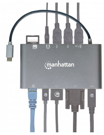 SuperSpeed USB-C 7-in-1-Dockingstation MANHATTAN USB 3.1 Typ C-Stecker auf HDMI, Mini DisplayPort oder VGA, drei USB 3.0 Typ A-Ports, USB-C-PD-Port, Gigabit-RJ45-Port, SD-Kartenleser und 3,5 mm-Audioa