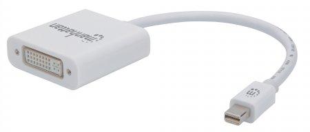 Passiver Mini-DisplayPort auf DVI-I-Adapter MANHATTAN Mini-DisplayPort-Stecker auf DVI-I Dual-Link-Buchse, 1080p@60Hz, weiß