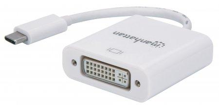 USB 3.1 Typ C auf DVI-Konverter MANHATTAN USB 3.1 Gen2 Typ C-Stecker auf DVI-Buchse, schwarz