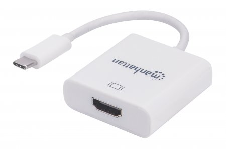 SuperSpeed+ USB-C to HDMI Converter - Enjoy Ultra high-definition (UHD) images on a HDMI monitor, projector or other display device; Supports video resolutions up to 3840x2160p@30Hz, 4K, Full UHD, USB 3.1 Gen 2 Type-C Male to HDMI Female, White