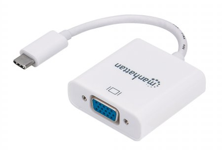 SuperSpeed+ USB-C to VGA Converter - Enjoy high-definition images on a VGA monitor, projector or other display device; supports 1080p analog video output, USB-C Male to VGA Female, White