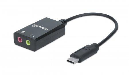 USB-C auf Klinke Audioadapter MANHATTAN USB-C Stecker auf 3,5 mm Klinkenbuchsen für Mikrofoneingang und Audioausgang, schwarz