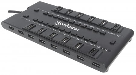 MondoHub II - Replaces Less-Capable Hubs with Compact Multiport Design and High-Capacity, Four-Amp Power Adapter, Adds 28 USB Ports to Any Computer – 24 USB 2.0 & Four USB 3.0 Ports, AC Power, Black