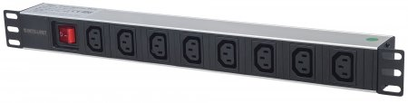 "19"" 1U Rackmount 8-Output C13 Power Distribution Unit (PDU) - , With Removable Power Cable and Rear C14 Input"