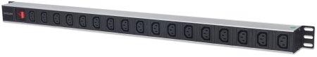 17-fach Steckdosenleiste mit C13-Kaltgerätesteckdosen, vertikale Rackmontage INTELLINET PDU mit abnehmbarem Stromkabel (2 m), Netzschalter und rückseitigem C14-Stromeingang