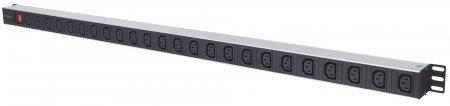 24-fach Steckdosenleiste mit C13-Kaltgerätesteckdosen, vertikale Rackmontage INTELLINET PDU mit abnehmbarem Stromkabel (2 m), Netzschalter und rückseitigem C20-Stromeingang