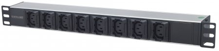 "19"" 1U Rackmount Anti-Shedding 8-Output C13 Power Distribution Unit (PDU) - , With Removable Power Cable and Rear C14 Input"