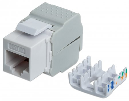 Cat6 Keystone Jack - , UTP, White, Tool-less