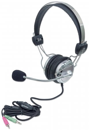 Stereo Headset MANHATTAN Verstellbarer Kopfbügel und flexibles Mikrofon