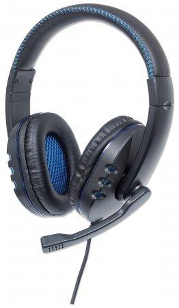 USB-Gaming-Headset mit LEDs MANHATTAN Für PC, Mac, PS3 & PS4, verstellbares Mikrofon, integrierte Audiobedienelemente, integriertes USB-Kabel mit 1,8 m Länge, schwarz/blau