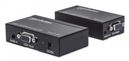 VGA Cat5/5e/6 Extender - , Extends video and audio signals up to 300 m (984 ft.)