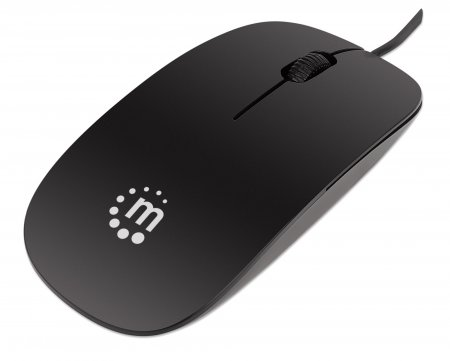 Silhouette Optical Mouse - , USB, Three Buttons with Scroll Wheel, 1000 dpi, Black