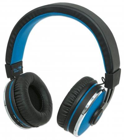 Sound Science Cosmos Comfort-Fit Bluetooth-Kopfhörer Bluetooth-Kopfhörer mit hohem Tragekomfort, geringem Gewicht und integriertem Mikrofon, schwarz-blau MANHATTAN
