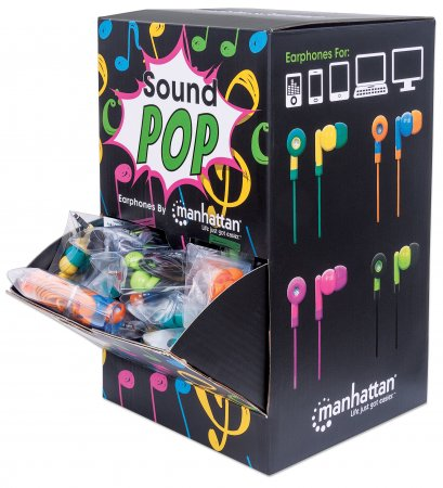 SoundPOP Earphone Countertop Display/Dispenser - Enjoy Your Music with a POP of Color, Assembled Countertop Display, Includes 40 Individually Packaged Earphones, Colored Teal/Yellow, Blue/Orange, Pink/Fuschia, Black/Green