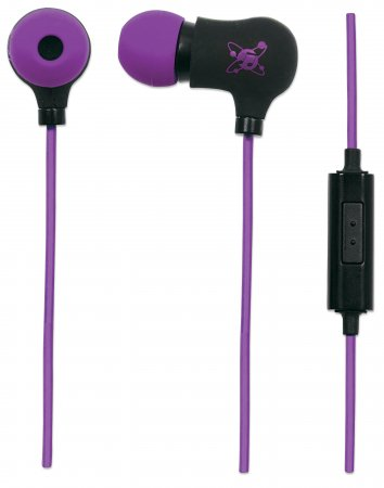 Sound Science Nova Sweatproof Earphones - Sweatproof Earphones, Lightweight Sweatproof Earphones with In-Line Mic, Black-Purple