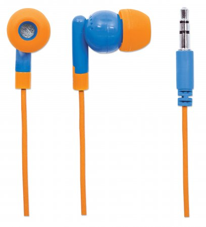 SoundPOP Thekendisplay für in-Ear-Kopfhörer mit integriertem Mikrofon MANHATTAN Vollständig aufgebautes Thekendisplay mit 40 einzeln verpackten Kopfhörern mit integriertem Mikrofon, grün/gelb, blau/or