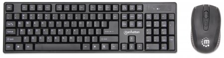 Wireless Keyboard and Optical Mouse Set - , One 2.4 GHz USB-Dongle Connection for Both, Black