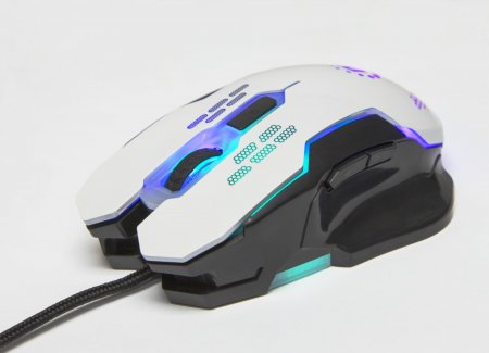 Wired Optical Gaming Mouse - , USB, Six Button with Scroll Wheel, Adjustable DPI, LED Lighting, White