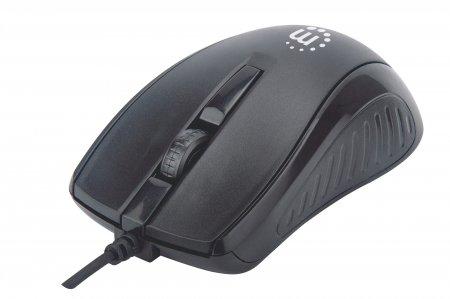 Optische USB-Maus MANHATTAN Kabelgebunden, drei Tasten mit Scrollrad, 1000 dpi, schwarz