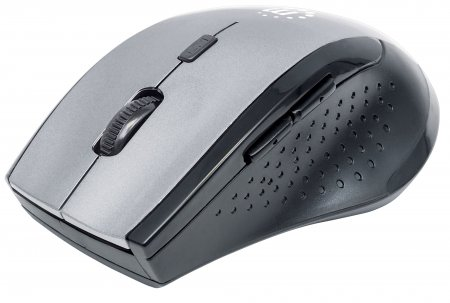 Curve Wireless Maus USB, optisch, fünf Tasten plus Mausrad, 1600 dpi, anthrazit MANHATTAN