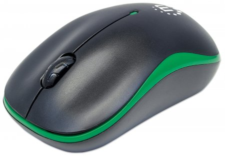 Success Wireless Optical Mouse - , USB, Three Buttons with Scroll Wheel, 1000 dpi, Green/Black
