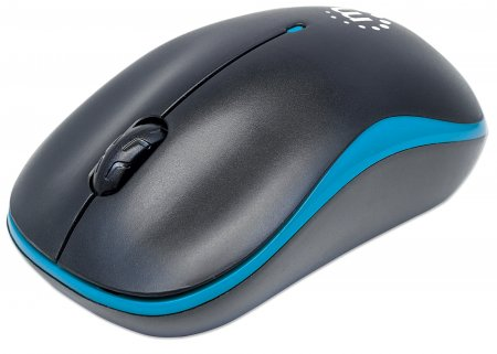 Success Wireless Optical Mouse - , USB, Three Buttons with Scroll Wheel, 1000 dpi, Blue/Black
