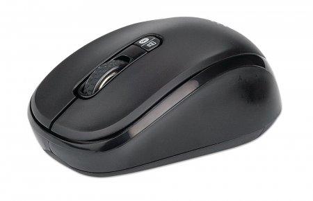 Dual-Mode Maus MANHATTAN Bluetooth 4.0 und 2,4 GHz USB-Funkempfänger, 800/1200/1600 dpi, drei Tasten plus Mausrad, schwarz