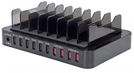 10-Port USB-Ladestation MANHATTAN 76 W, 12 A, USB-Dockingstation mit Quick Charge 2.0, 8 Trennfächer