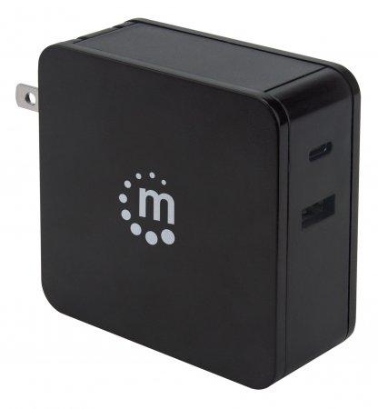 Power Delivery USB-Netzteil – 60 W MANHATTAN Ladegerät mit USB-C Power Delivery-Port (PD 3.0) mit bis zu 60 W, USB-A Ladeport bis zu 2,4 A, schwarz