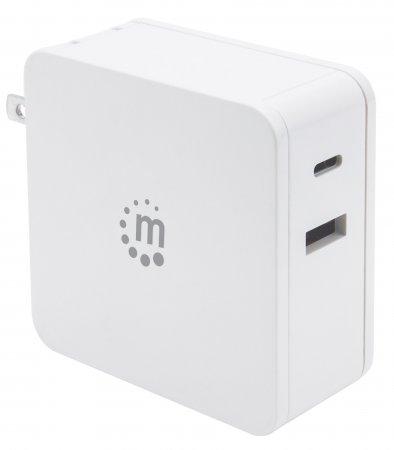 Power Delivery USB-Netzteil – 60 W MANHATTAN Ladegerät mit USB-C Power Delivery-Port (PD 3.0) mit bis zu 60 W, USB-A Ladeport bis zu 2,4 A, weiß