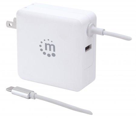 Power Delivery USB-Ladegerät mit integriertem USB-C-Kabel 60 W MANHATTAN USB-Netzteil mit USB-C Power Delivery-Stecker (PD 3.0) mit bis zu 60 W, USB-A Ladeport bis zu 2,4 A, weiß