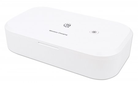UV-Desinfektionsbox mit kabellosem Induktionsladegerät für Smartphones MANHATTAN Sterilisator mit UV-C-Licht und 10 W Wireless Charger, für Handys, Masken, Kreditkarten und mehr, weiß