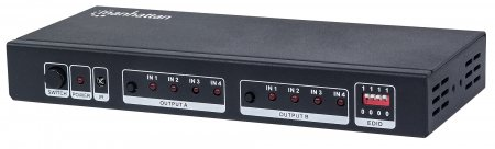 4K 4x2 HDMI Matrix - Easily Connect and Switch Four Sources Between Two Displays, 4K@30Hz, Switch/Splitter Matrix with Four Inputs and Two Outputs, EDID, Video Bandwidth Amplifier, Remote Control, Black