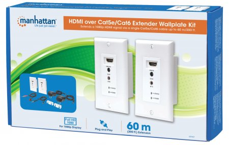 1080p HDMI over Ethernet Extender Wallplate Kit