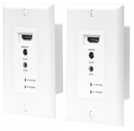 1080p HDMI over Ethernet Extender Wallplate Kit - , Distances up to 60 m (200 ft.), Single Ethernet Cable, White