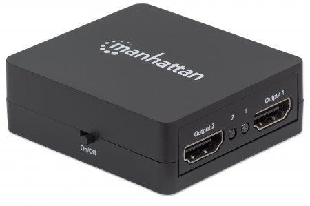 1080p 2-Port HDMI-Splitter MANHATTAN Stromversorgung über USB, schwarz