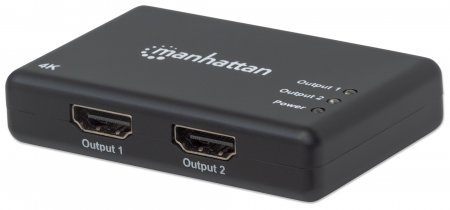 4K 2-Port HDMI Splitter - Duplicates a high-definition digital audio/video signal for two HDMI outputs, AC powered, Plug and play, 4K@30Hz, AC Powered, Black